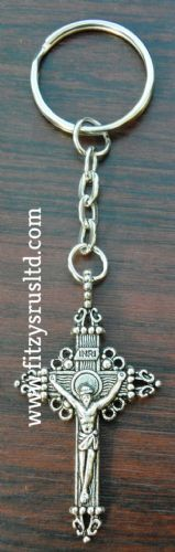 INRI Crucifix Keyring Holy Jesus Cross Key Ring Religious Catholic Gift